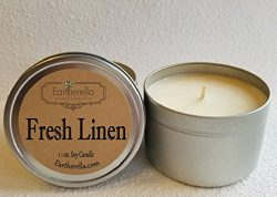 FRESH LINEN Natural Soy Wax 11 oz. Tin Candle, long 60+ hour burn time, fresh, clean, spring, la ...