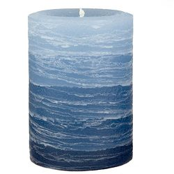 Blue Layered Rustic Pillar Candle – 3×4 inches – Unscented Handcrafted by Nordi ...
