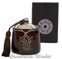 Casablanca Market Moroccan Khamsa Glass Candle, Brown