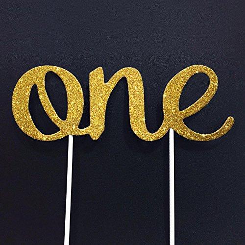 1st BIRTHDAY CAKE TOPPER Stunning ONE Gold Glitter Birthday Decoration Double
