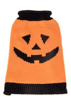 Orange and Black Halloween Smiling Pumpkin Holiday Pet Dog Sweater Jack-O-Lantern Costume | Perf ...