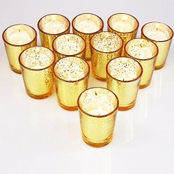 YYCH Classy Votive Candle Holders Set of 12 – Made Of Mercury Glass With A Speckled Gold F ...