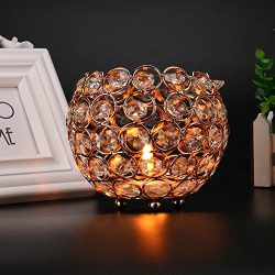 Anferstore Father's Day Valentines Day Crystal Tea Light Candle Holders/Candle Shade for W ...