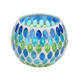 Yeefant Blue Green Willow Handmade Mosaic Glass Candlestick Props Tea Light Candle Holders Weddi ...