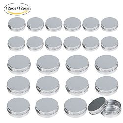LANMOK 24 Pcs Aluminum Tin Jars (1oz 30ml + 2oz 60ml) Cosmetic Containers Round Tin Cans with Sc ...