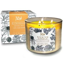 T & H Citronella Candles for Aromatherapy Stress Relief Scented 3-Wick Natural Soy Wax Candle