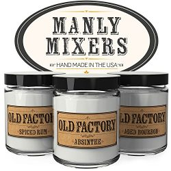 Scented Candles for Men – Manly Mixers – Set of 3: Spiced Rum, Absinthe, Aged Bourbo ...