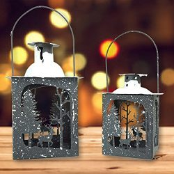 Rustic Lantern Set – Pack of 2 – Small and Medium Metal Lanterns – Winter Scen ...