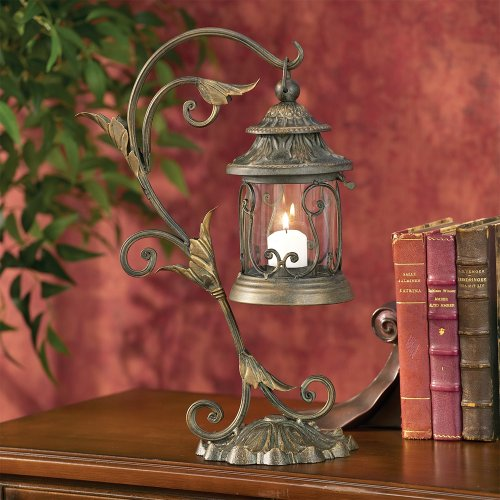 Kensington Hill Leaf and Vine Scroll Pillar Candle Holder Lantern