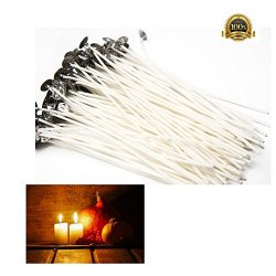 100% Natural Cotton Core Candle Wick, Low Smoke 6″ Pre-Waxed for Candle Making 100 Pcs