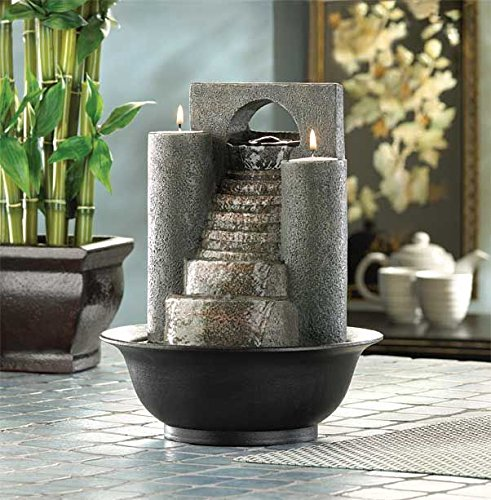 DecorDuke Tabletop Water Fountains Indoor Pump Waterfall With Candles  Outdoor Home Office Decorative