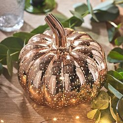 Rose Gold Battery Operated LED Halloween Thanksgiving Pumpkin Light Party Decoration