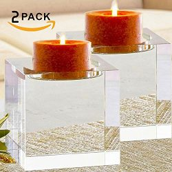 Amazing Home Huge Crystal Pillar Candle Holders 4″,4″,4″ Set of 2,Decorative H ...