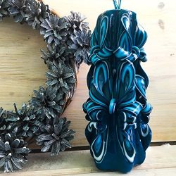 Blue Candles Prime – candles handmade – Carved candles – Christmas candle &#82 ...