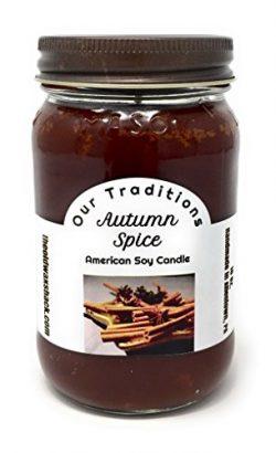 Autumn Spice 100% Soy Hand Poured Candle, 16 Oz. Mason Jar