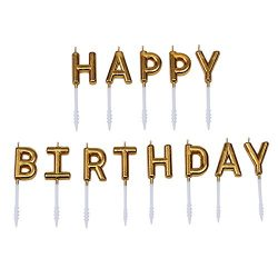 Willcan Gold color happy birthday candles,13 molded letter party time special day funny candles  ...