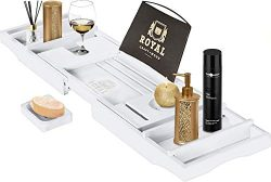 Royal Craft Wood Bamboo Bathtub Caddy Tray with Wine and Book Holder – One or Two Person B ...