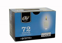 Ohr 4 Hour Neironim Candles – Shabbat and Small Votive Wax Candle – 72 Count – by