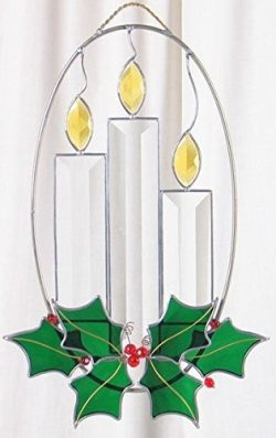 Christmas Candles made from Real Stained Glass on oval ring