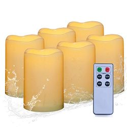 AMAGIC Flameless Pillar Candles With Remote Timer – Waterproof Outdoor Led Pillar Candles( ...