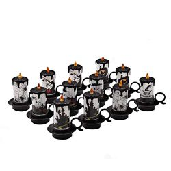 Livoty 12pcs Halloween LED Electric Candle Lamp Tea Light Candles Halloween Decoration Part (Mul ...
