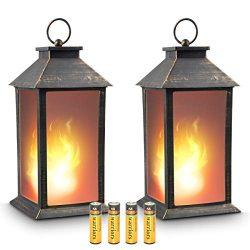 zkee 13″ Vintage Style Decorative Lantern,Flickering Flame Effect LED Tabletop Lantern(Bla ...