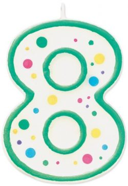 Wilton W91-08 Numeral Candle, 3-Inch by 1.5-Inch, No. 8, Green, 1-Pack