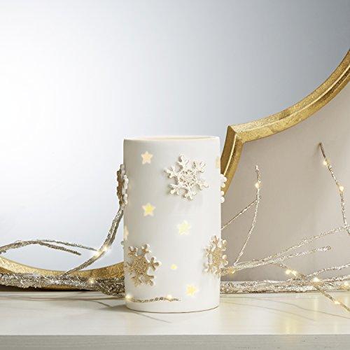 LampLust 6.5″ Pillar Candle Holder, White Porcelain, Gold Snowflake Detail – For Win ...