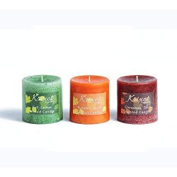 Scented Pillar Candles Set of 3 fragrances | Fall Leaves, Pumpkin Spice and Cinnamon Sticks in M ...