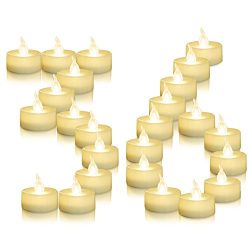 AMAGIC 36 Pack Flameless Battery Operated Tea Lights, Electric Fake Tealight with Warm White Fli ...