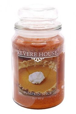 Candle-Lite Revere House Scented Pumpkin Spice Single Wick 23oz Large Glass Jar Candle, Gourmand ...