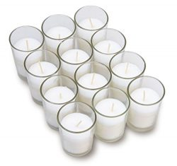 Harmonic Blossom Glass Votives 12 Pack – Premium White Unscented Votive Candles in Clear E ...