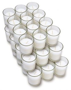 Harmonic Blossom Glass Votives 36 Pack – Premium White Unscented Votive Candles in Clear E ...
