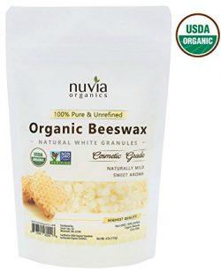 Nuvia Organics White Beeswax, USDA Certified Organic & Non-GMO Verified; 4 Oz