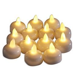 AceList Set of 12 Flameless Floating Candles, Battery Operated Tea Lights Candle -Decorative, We ...