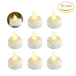 24 Pack Waterproof Led Floating Candles, Flickering Tea Lights, Battery Operated Tealights for P ...