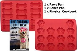 Dog Paw and Bone Mold and Recipe Gift Set | Food Grade Silicone Baking Molds For Puppy Snacks |  ...