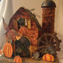 Barn Candle Holder, Rustic Fall Candle Holder, Decorative Tin Barn Votive, Fall Barn Votive, Aut ...