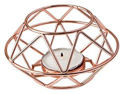 Geometric design rose gold metal tealight candle holder from fashioncraft