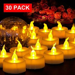 AMAGIC Small Led Tealight Candles Bulk – Battery Operated Tea Lights With Flickering Amber ...