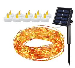 [BONUS PACK] Solar Powered 100 LEDs 33ft String Light AND 10 Pieces Battery Powered FlamelessLED ...