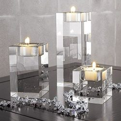 DecentGadget Heavy Clear Crystal Tea Light Holder Cuboid Candle Holder for Party Ceremony Weddin ...