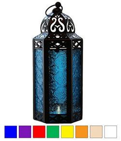 Blue Glass Moroccan Style Candle Lantern – Great for Patio, Indoors/Outdoors, Events, Part ...