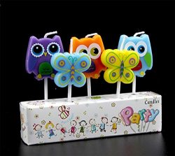 CREATIONTOP Birthday Candles Newborns, 1st Birthday,Wedding Love Candles for Cake (Owl/Butterflies)