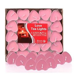 Tiean 50PCS Heart Shaped Scented Candles, Romantic Love Candle Bulk for Wedding, Birthday, Party ...