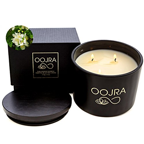 OOJRA Essential Oil Thai Jasmine Bamboo Scented Soy Wax Luxury Candle 3 Wick 13 oz (370g) 75+ ho ...