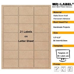 "Mr-Label 1-1/2""×2-1/2"" Printable Natural Kraft Brown Label Sticker – For Mason Jars 