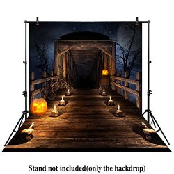 Allenjoy 5x7ft photography backdrop background scary Wooden bridge night Halloween candles skull ...