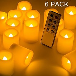 Beichi Set of 6 Remote Control LED Candles with Timer, Flickering Flameless Votive Candles, Long ...