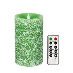 Romingo Irish Green Clover LED Candle with Timer and Remote Control for Birthday Gift and Spring ...